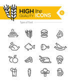 Photo Types of Food line Icons including: meat, grain, dairy etc..