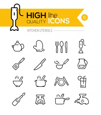 Kitchen Utensils line icons including, cookers, appliances, tool