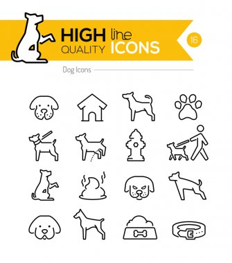 Dog Line Icons clip art vector