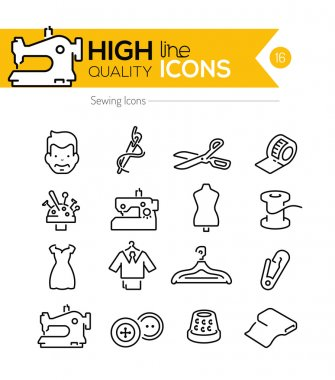 Sewing Line Icons clip art vector