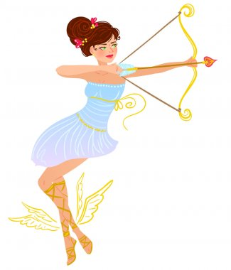 Valentine day brunette angel girl with bow and love arrow. clip art vector