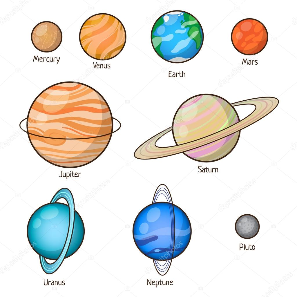 Solar system planets set.