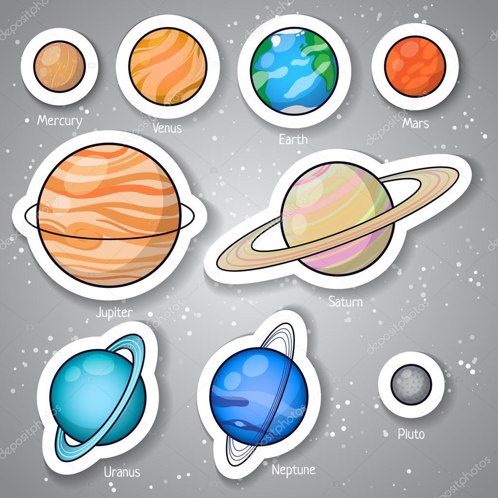 Solar system planets set.