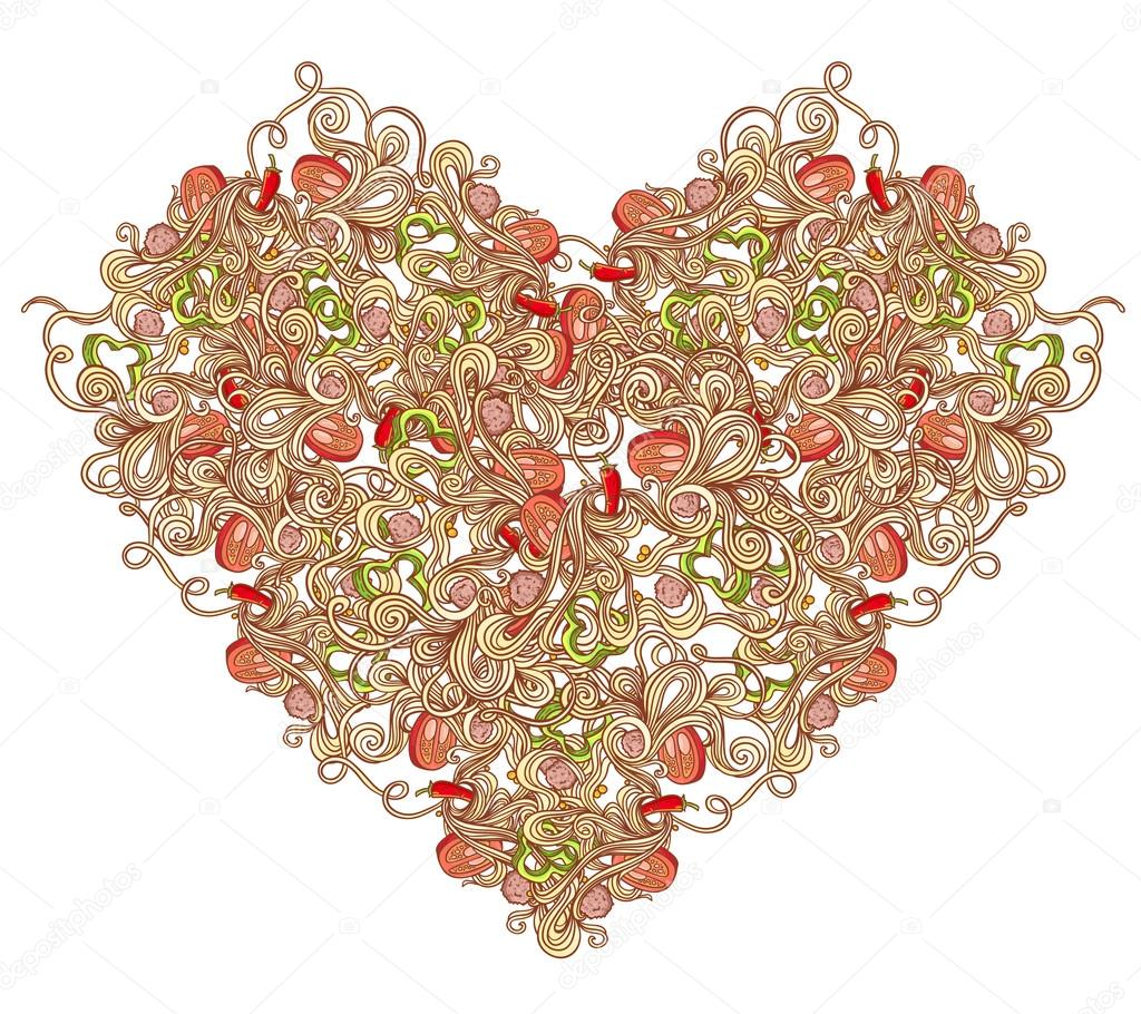 Pasta heart for Valentine's Day