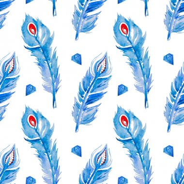 Watercolor jewelled feather pattern