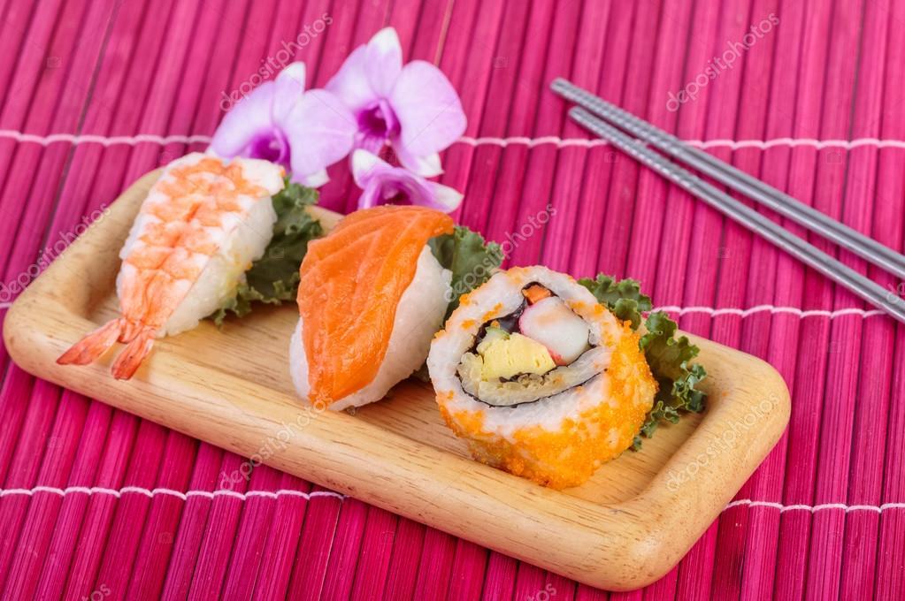 Sushi set ,sushi with chopsticks