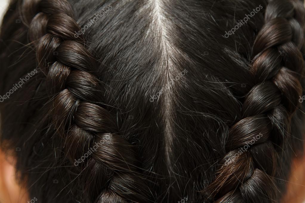 Peinado De La Trenza Cabello Largo Negro Cerrar Fotos De Stock