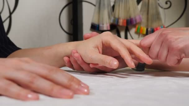 Kosmetička dělá lázeňské procedury pro ženské ruce. SPA manikúra, ruční masáž. V kosmetickém salonu, nanášení hydratační krémové masáže. Lázeňská léčba, masáž rukou a péče o tělo. Měkká kůže. 4 k