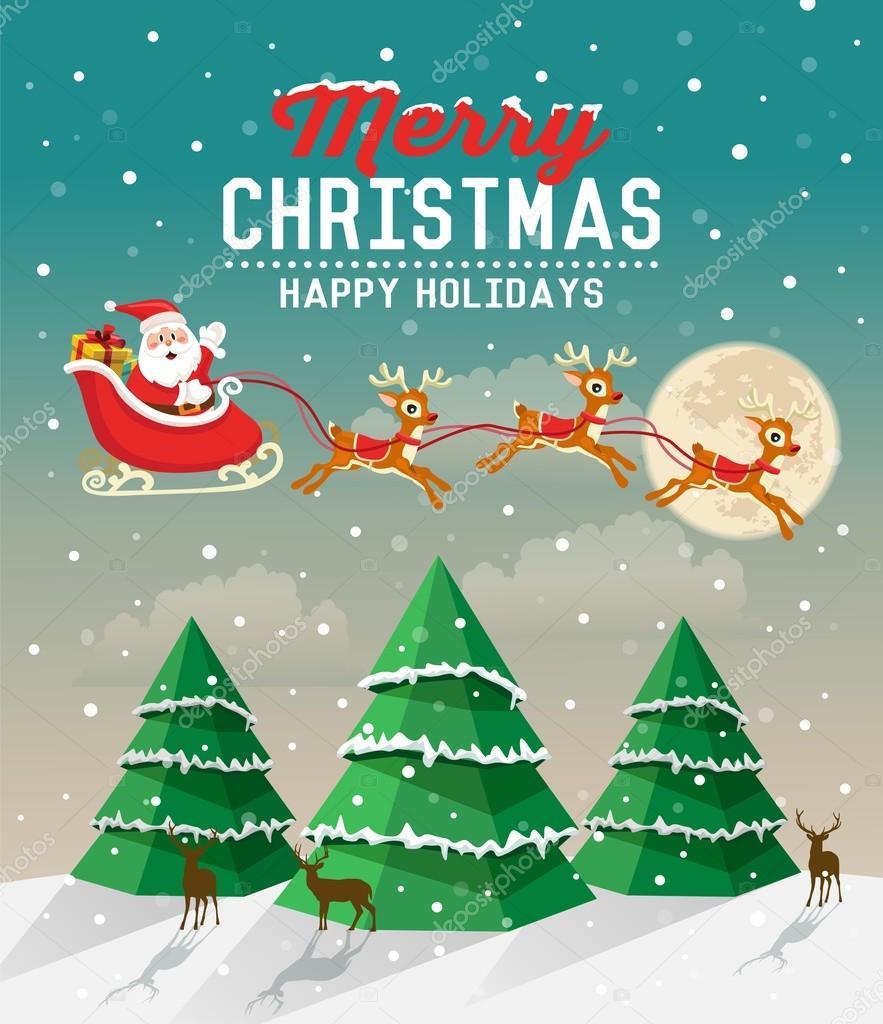 Verschneite Weihnachten-Szene mit Weihnachtsbaum und der ...
