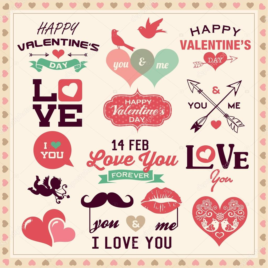 Valentine S Day Typography Labels And Icons Elements Collection