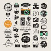 Fotografie Vintage retro ikony fotografie, odznaky a štítky sada. Vektorové fotografie logo šablon