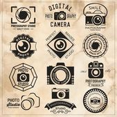 Fotografie Photography vintage retro badges, labels and icons set. Vector photography logo templates.