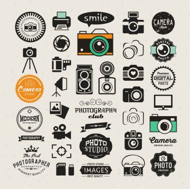 Photography vintage retro icons, badges and labels set. Vector photography logo templates stock vector