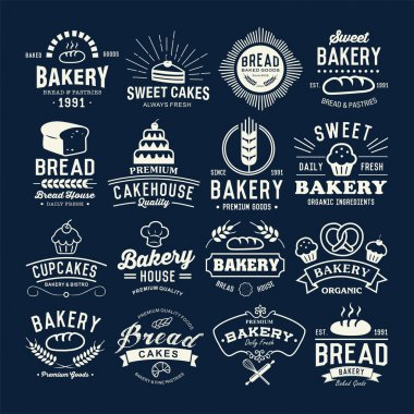 Bakery logotypes set. Retro Bakery labels, logos, badges, icons, objects and elements.