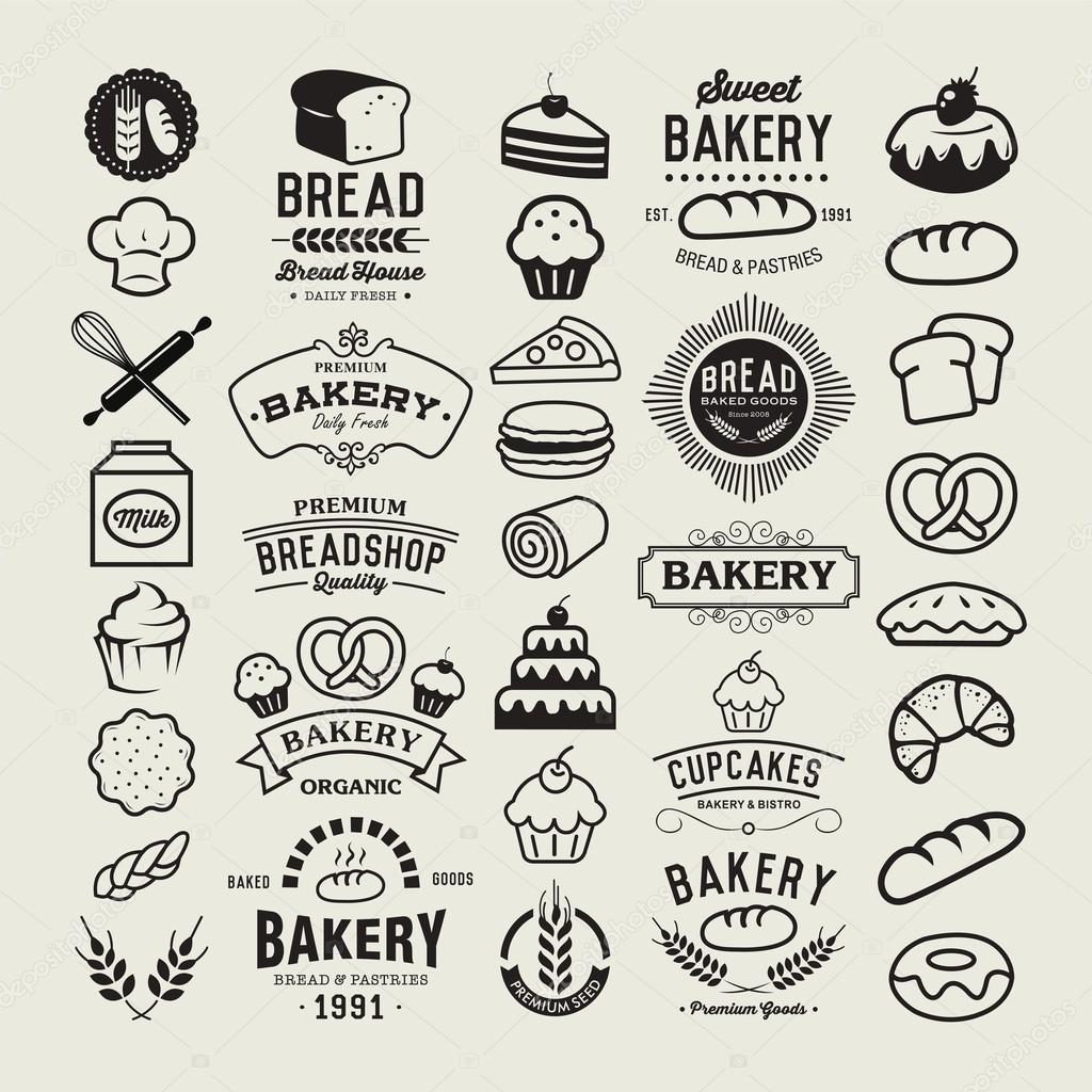 Bakery logotypes set. Bakery vintage design elements, logos, badges, labels, icons and objects