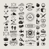 Fotografie Food logotypes set. Restaurant vintage design elements, logos, badges, labels, icons and objects