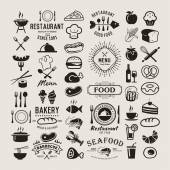 Photo Food logotypes set. Restaurant vintage design elements, logos, badges, labels, icons and objects