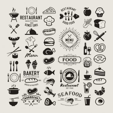 Food logotypes set. Restaurant vintage design elements, logos, badges, labels, icons and objects stock vector