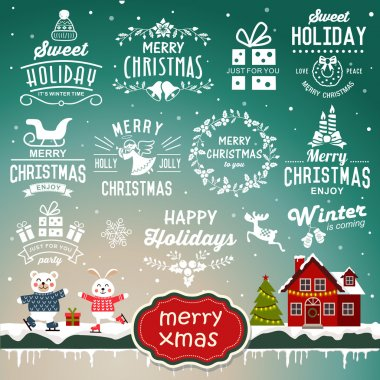Christmas decoration collection - calligraphic and typographic design with badges, labels, icons and objects elements.