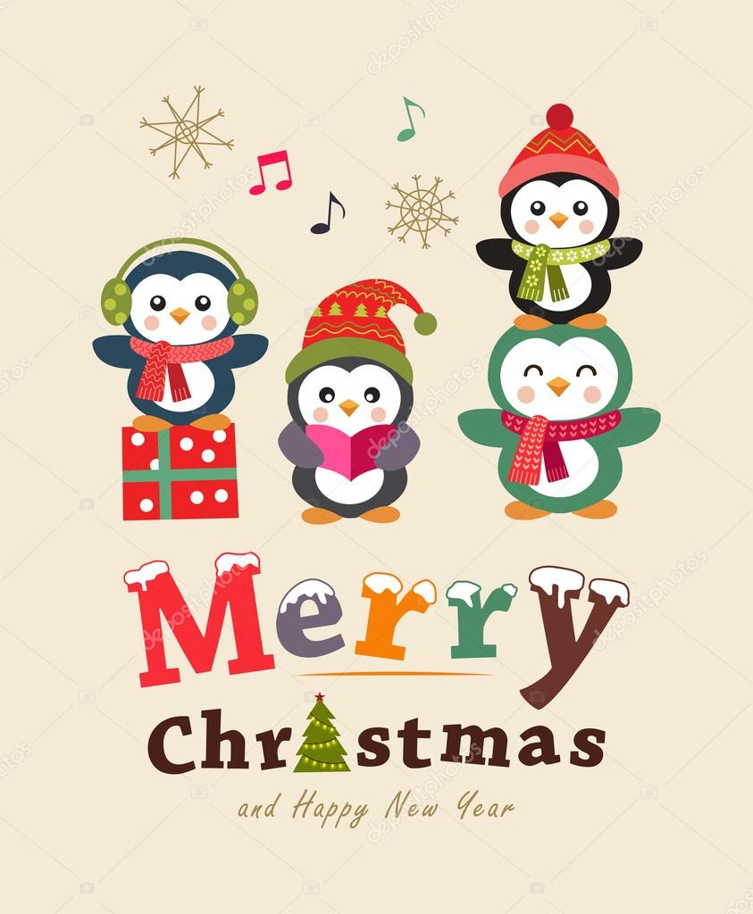 Funny Christmas Greeting Card Poster Design Cute Animals Vector