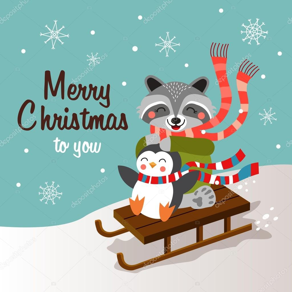 Funny cartoon christmas card, banner and poster design. Vector illustration.