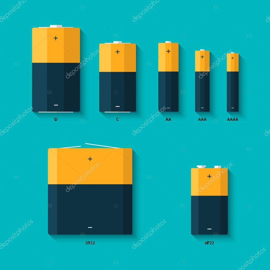 set of batteries of different sizes aaaa aaa d c and aa