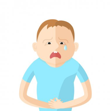 Children have an abdominal pain. Character in Flat style