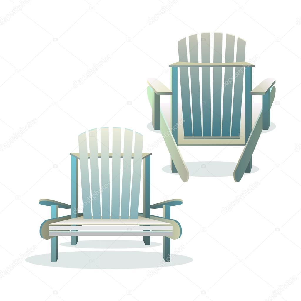 adirondack stuhl aus holz vorne und hinten — stockvektor © godruma