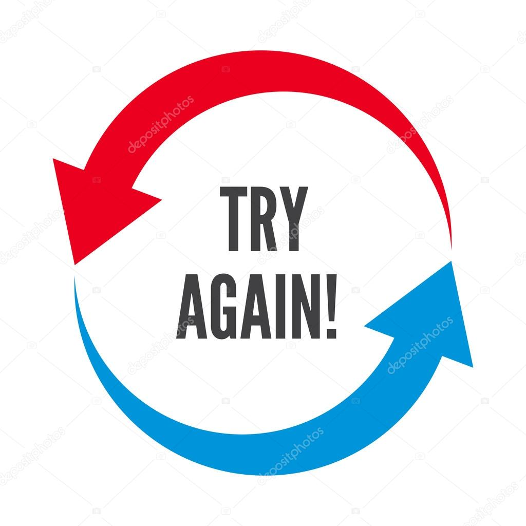try again two rounded arrows following each other stock vector
