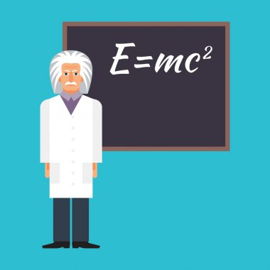 Einstein is standing next to the blackboard with the formula