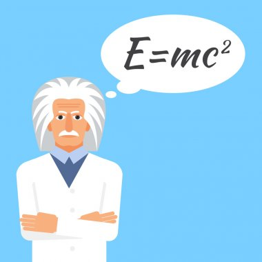 Einstein is stands keeping the formula in his head