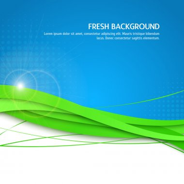 Beautifull fresh background. Eco, green and blue backgdrop with halftone, flare