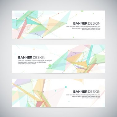 Vector banners set with polygonal abstract shapes, with circles, lines, triangles stock vector