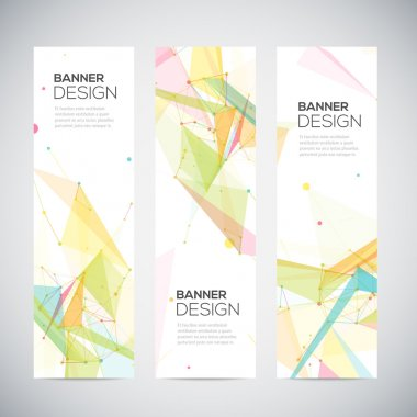 Vector vertical banners set with polygonal abstract shapes, circles, lines, triangles