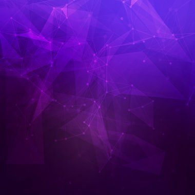 Abstract low poly dark purple bright technology vector background. Connection structure. Vector data science background. Polygonal vector background. Molecule And Communication Background.