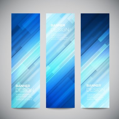 Blue low poly vector vertical banners set with polygonal abstract lines. Abstract vector polygonal bright background. Vector web buttons. Design vector elements