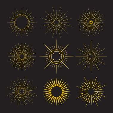 9 Art deco vintage sunbursts collection with geometric shape, light ray. Set of vintage sunbursts in different shapes.