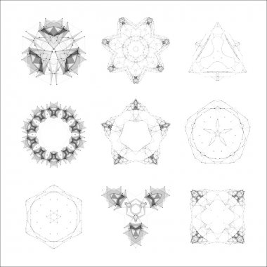 Set of geometric shapes, lowpoly shapes, triangles, line design, vector. Guilloche vector elements.
