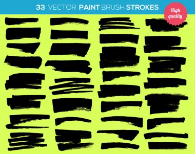 33 vector paint brushes. Ink strokes, paint splash set. Grunge watercolor broad brush strokes. With color abstract background.