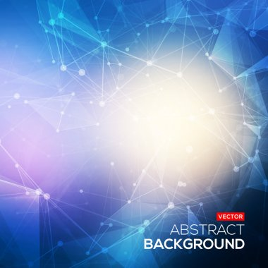 Abstract polygonal blue colorful low poly bright background with connecting dots and lines. Connection structure. Vector science background. Polygonal vector background. Futuristic HUD background.