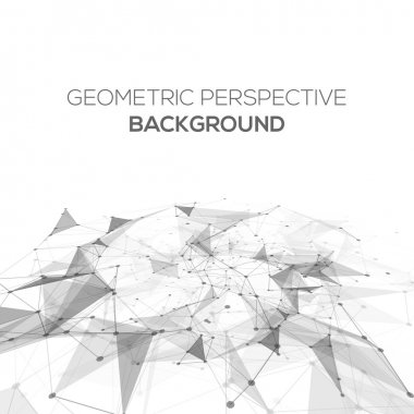 Abstract polygonal perspective low poly background with connecting dots and lines. Connection structure. Vector science background. Polygonal vector background.
