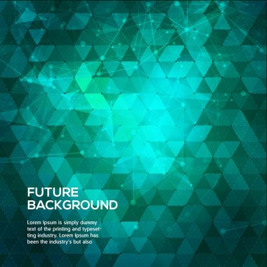 Abstract blue and green background with triangles. Abstract polygonal space low poly dark background with connecting dots and lines. Polygonal vector background. Futuristic HUD background.