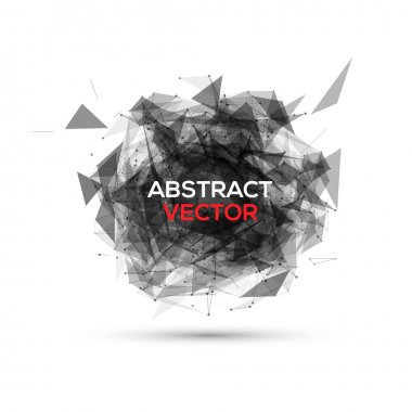 Abstract black geometric explosion. Vector speech buble.