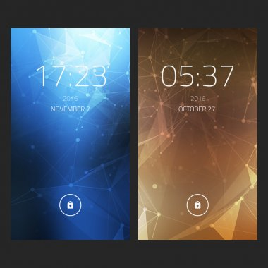 Mobile interface wallpaper design. Set of abstract elegant backgrounds with geometric style for smartphones, mobiles, devices. Clean and modern design