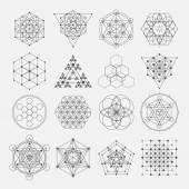 Szent geometria vector design elemek. Alkímia, a vallás, filozófia, spiritualitás, csípő szimbólumok és elemek.