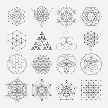 Sacred geometry vector design elements. Alchemy, religion, philosophy, spirituality, hipster symbols and elements.