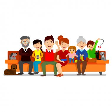 Big Happy Family sit on sofa. Parents with Children. Father, mother, children, grandpa, grandma, dog and cat.
