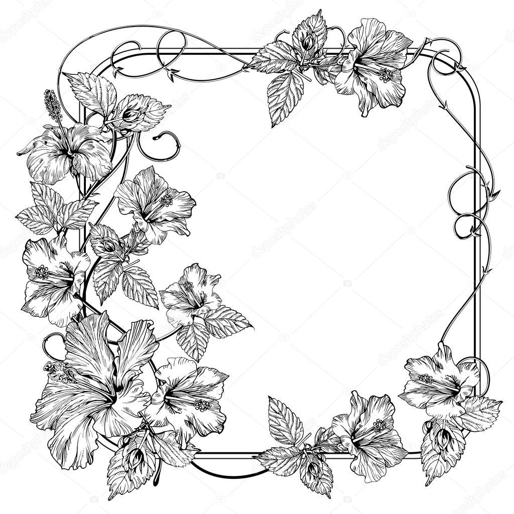 Цветы черно-белые вектор