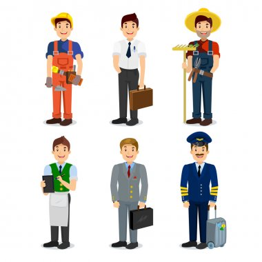 Set of colorful profession man flat style icons pilot, businessman, builder, waiter, farmer, manager.