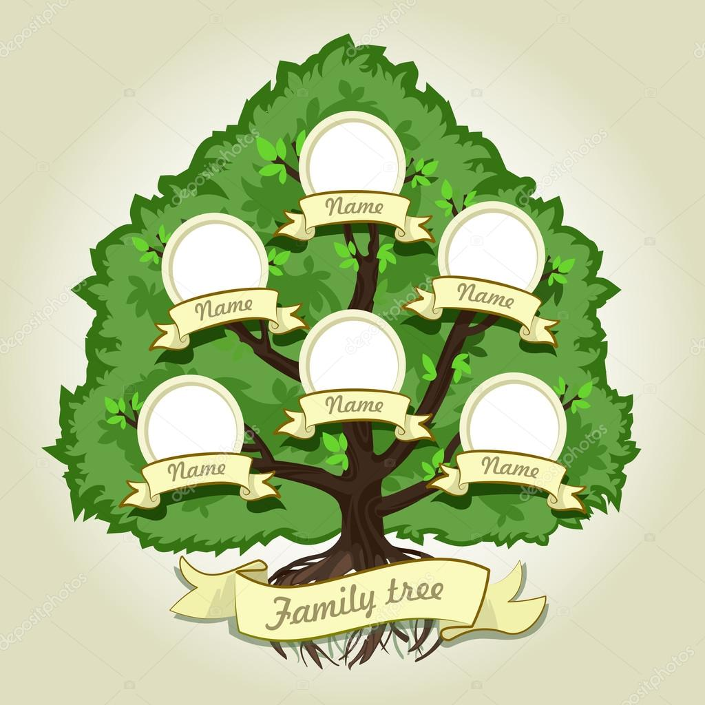 Genealogical family tree on gray background. Family tree in vintage style. Concept illustration family tree.